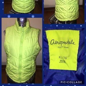 Aeropostale Neon Green w/Blue Liner Vest Sz XL